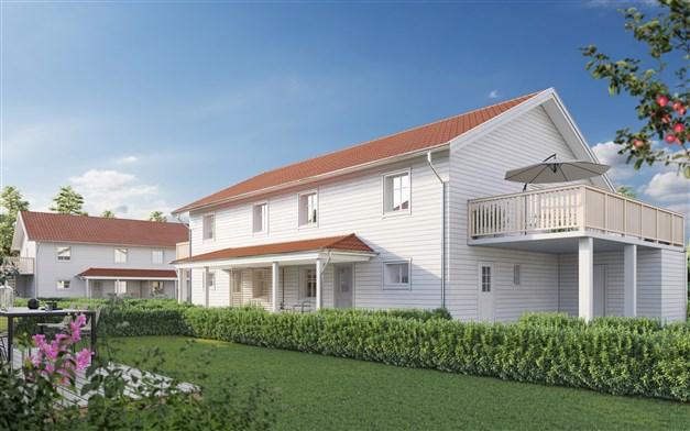 Nyproduktionen Brf Södra Hamnkaptenen med 6 parhus och totalt 12 lägenheter.
