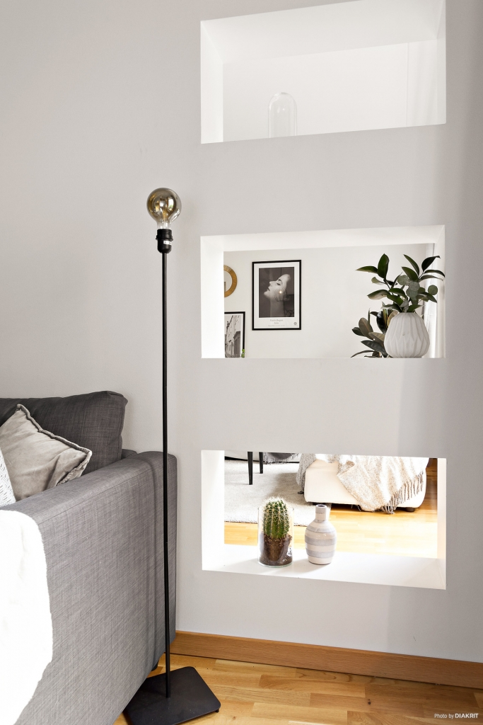 Detaljbild tv-rum mot vardagsrum