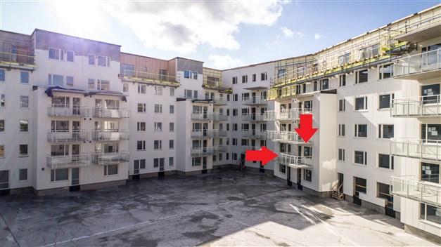 Lägenheten utmarkerad