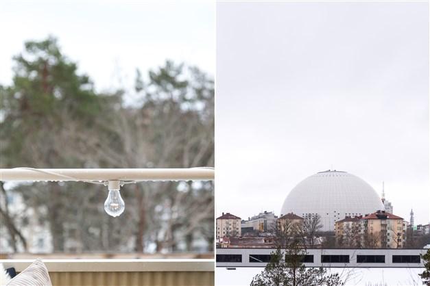 Utsikt över Hammarbyhöjden, Globen och Tele2arena.