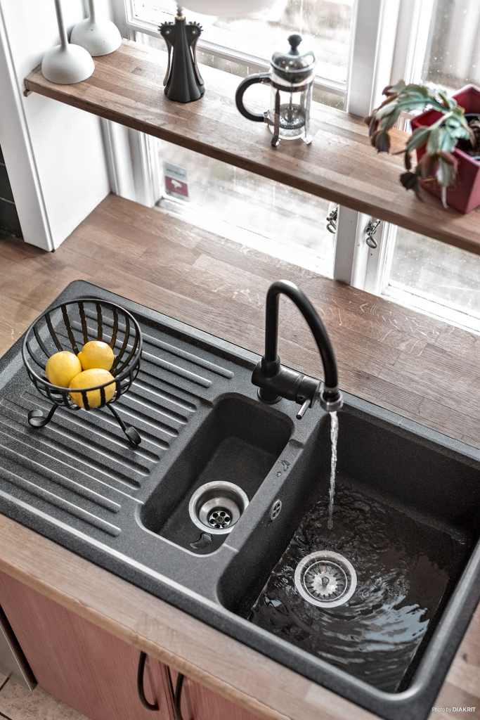 Snygg svart vask.