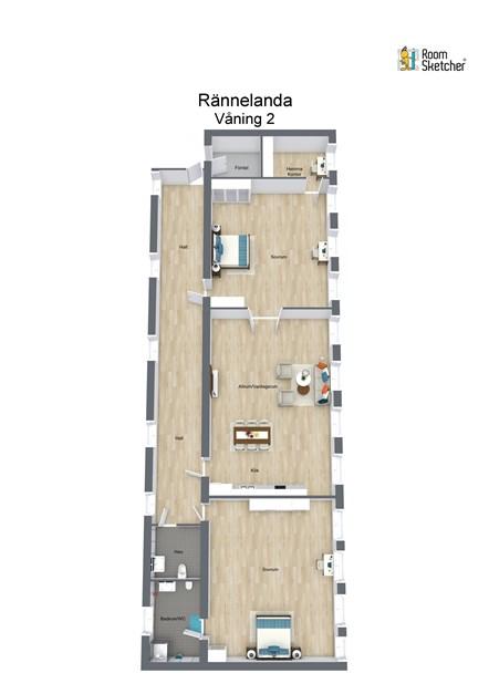 Planritning (3 D) tänkt lägenhet (avvikelser kan förekomma. Ej skalenlig)