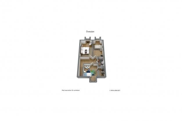 Planritning övervåning, 3D