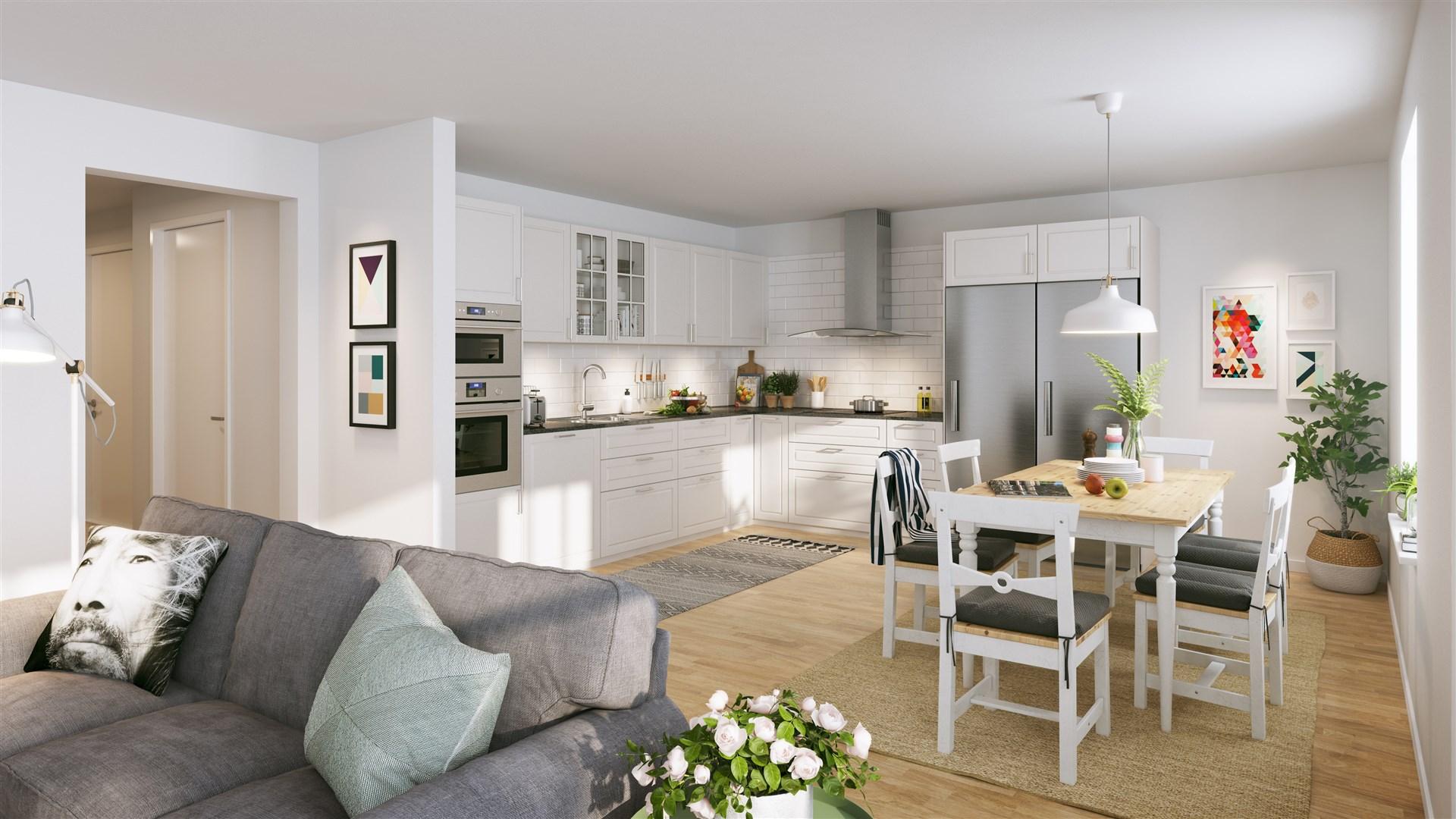 Illustrationsbild över kök och vardagsrum
