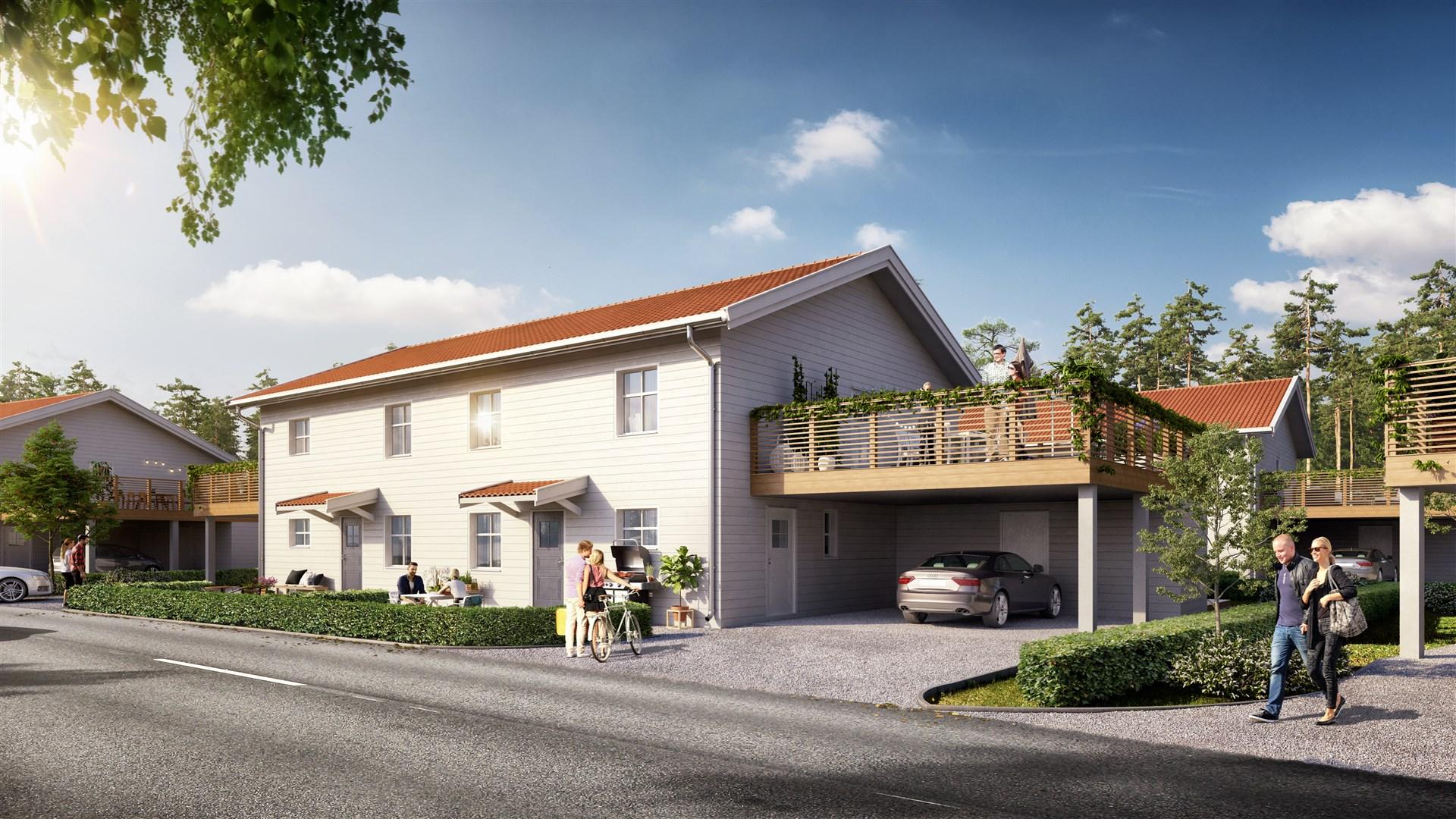 Nyproduktion av 6 parhus i 2 plan med totalt 12 bostadsrätter.