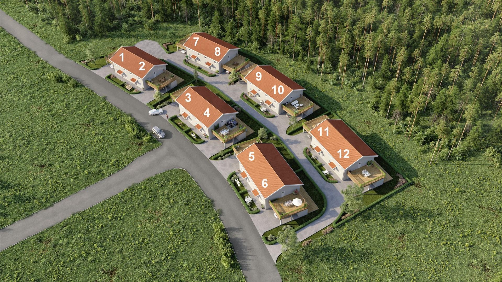 Brf Briggskutan består av 6 parhus med totalt 12 bostadsrätter