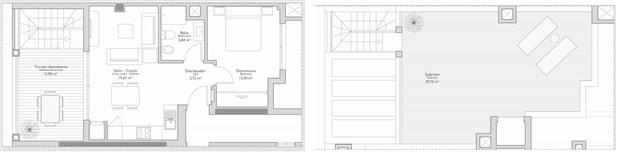 Exempel på planritning: 1 sovrum med terrass och takterrass