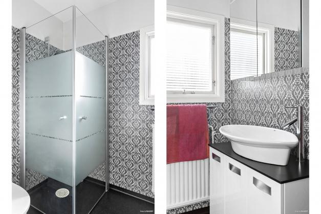 Badrummet med duschhörnan.