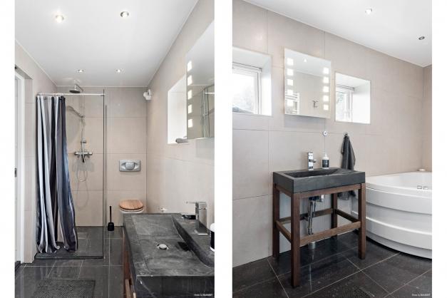 Dusch, wc, handfat samt badkar. kakel och klinker i stilfulla färger
