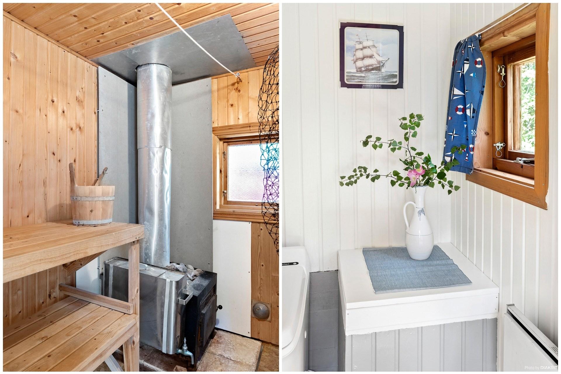 Uthuset med vedeldad bastu och toalett