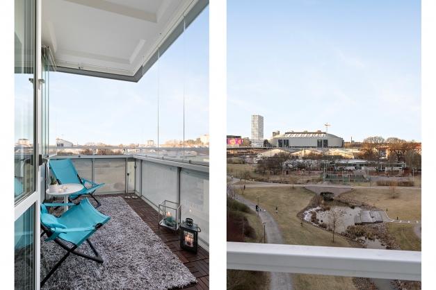 Inglasad balkong i väster med fri utsikt över Vattenparken