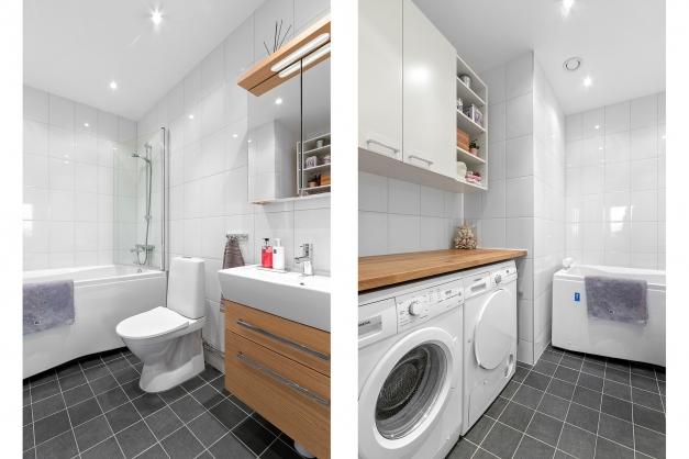 Badrum med badkar, tvättmaskin och troktumlare