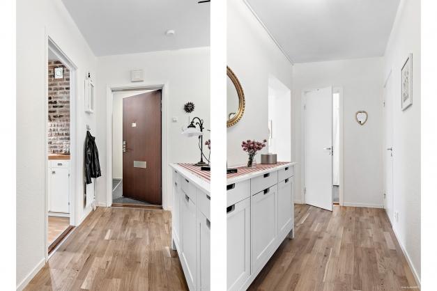 Hallen sett från två håll, hallen är navet i lägenheten och från den grenar sig alla rummen.