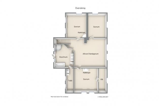 Planlösning övre plan vita huset