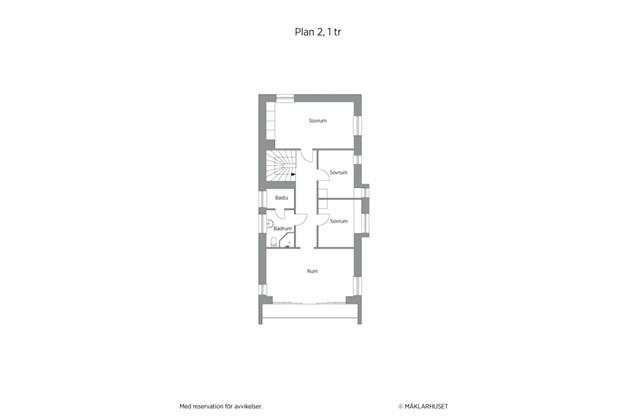 Planritning 2D 2-planshus övreplan