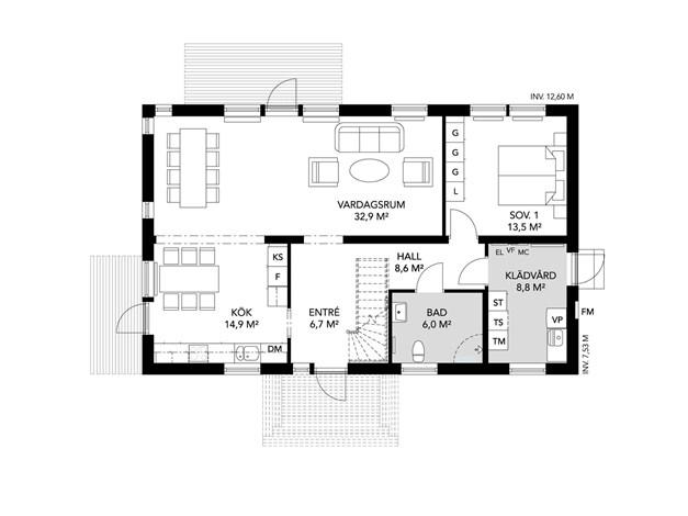 Alternativt planlösningsförslag entréplan med större vardagsrum.