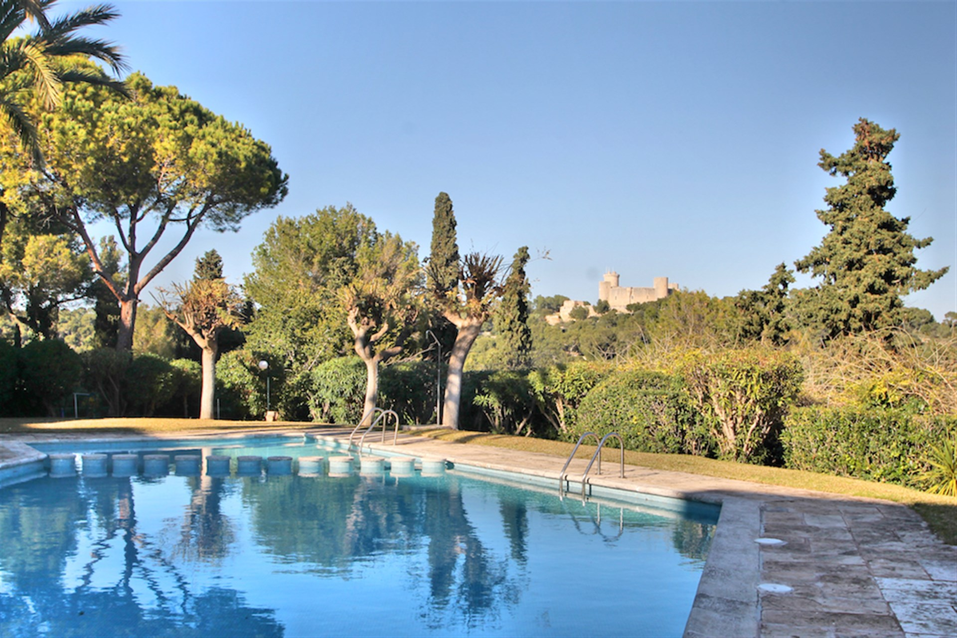 Pool och utsikt över Castillo de Bellver