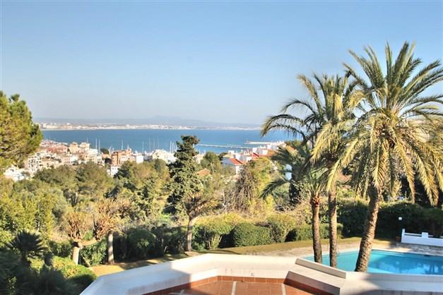 Utsikt över havet och poolen från terrassen