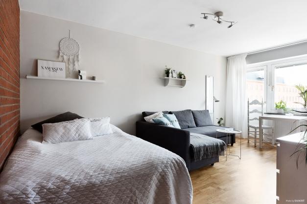 Allrum med plats för både soffa, säng och matgrupp