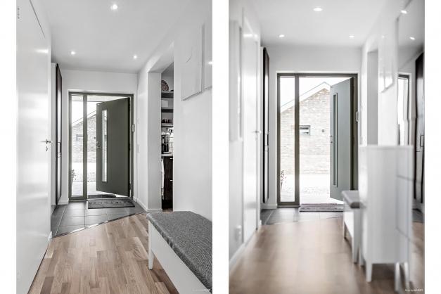 Ljus och trevlig hall med praktiskt klinker på golvet.