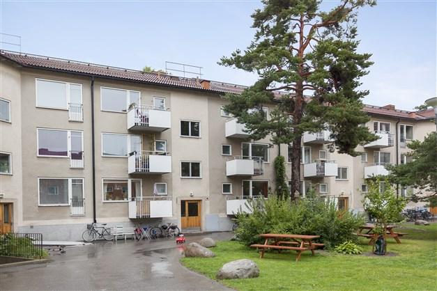 Bild på föreningens innergård och port nr 127.