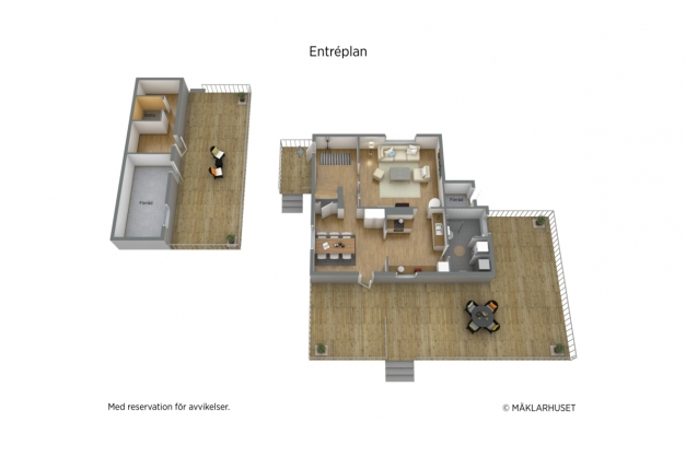 3D planritning - entréplan samt förrådet.