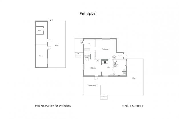 2D planritning - entréplan samt förrådet.