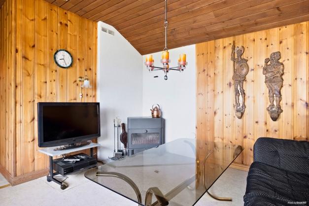 Tv-rum/sovrum med kamin