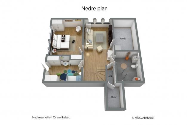 Planlösning, nedre plan