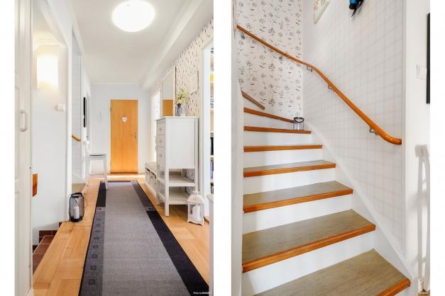 Möblerbar hall och trappan upp till övre plan