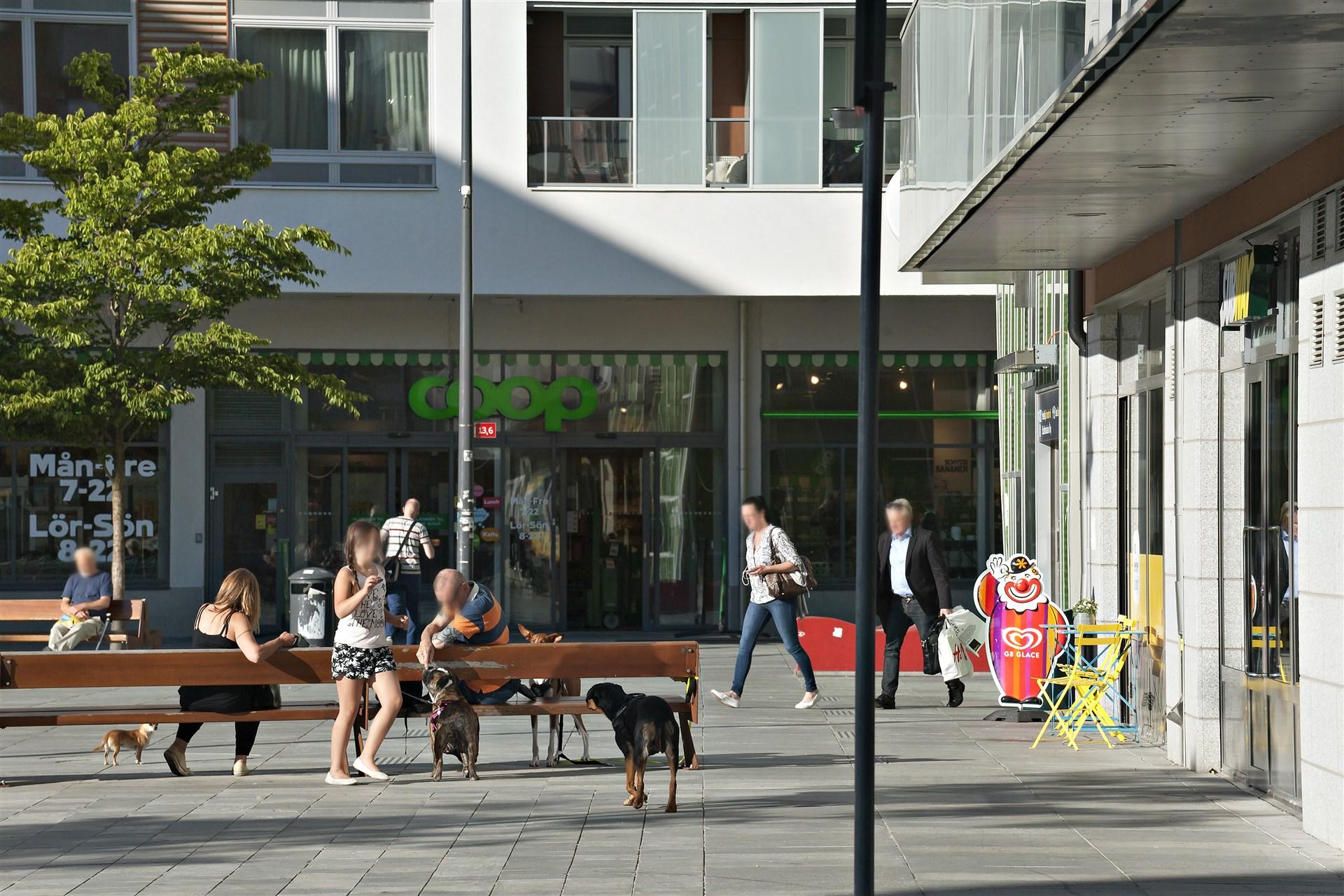 I Älvsjö centrum finns ett flertal affärer och restauranger