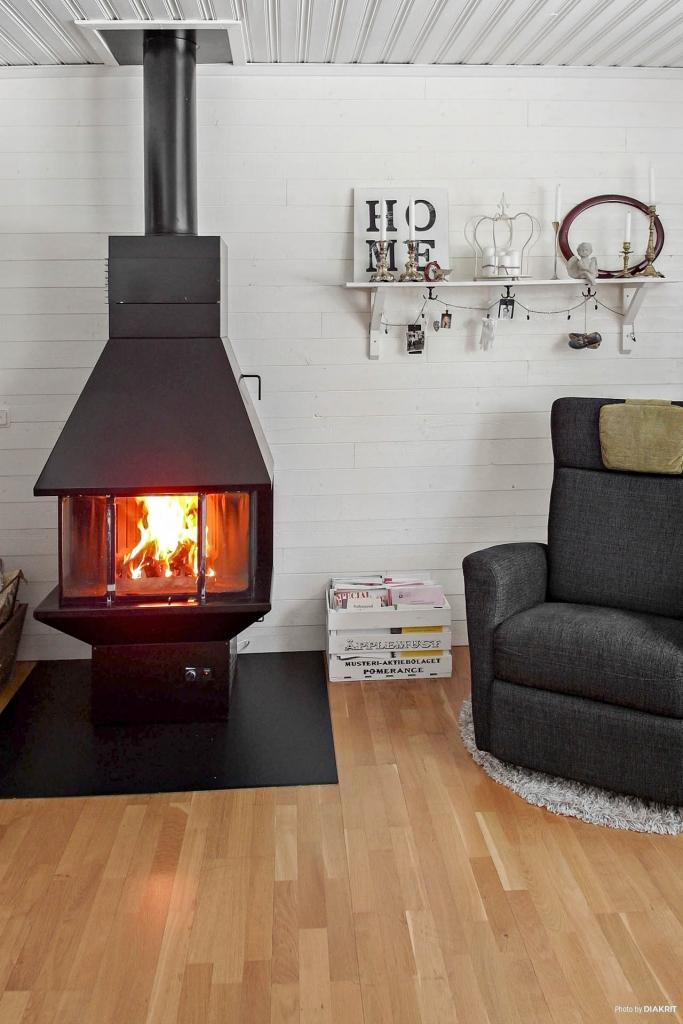 Kamin i vardagsrum som sprider härlig värme!