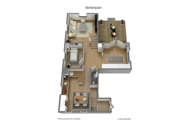 3-D planritning bottenplan