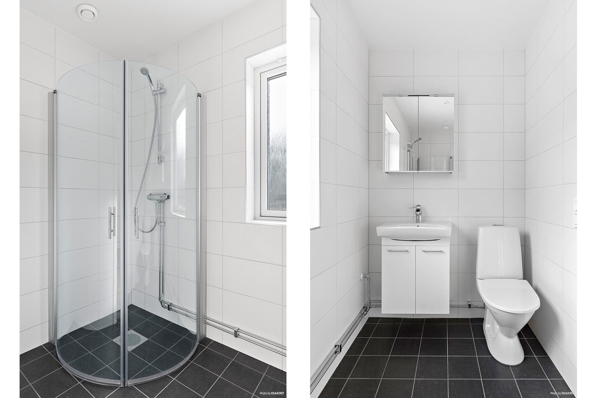Helkaklad gäst-WC med dusch