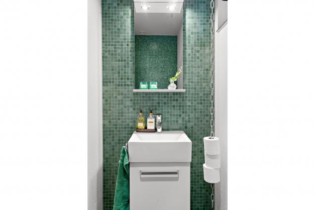 Toalett i anslutning till entré och tvättstuga med vacker mosaik