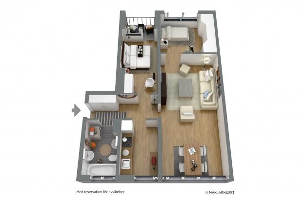 Möblerad planlösning i 3D