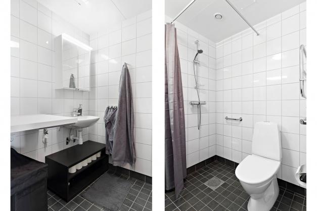 Duschrum med plats för tvättutrymme