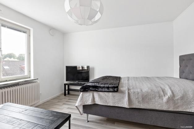 Rum med plats för både säng och soffa