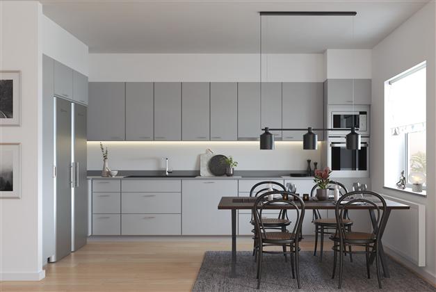 Vilken färg på luckorna vill du ha i köket, gråa luckor? Exempelbild