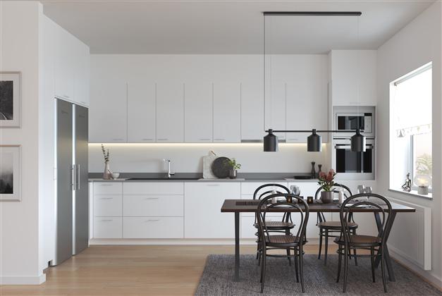 Vilken färg på luckorna vill du ha i köket, vita luckor? Exempelbild