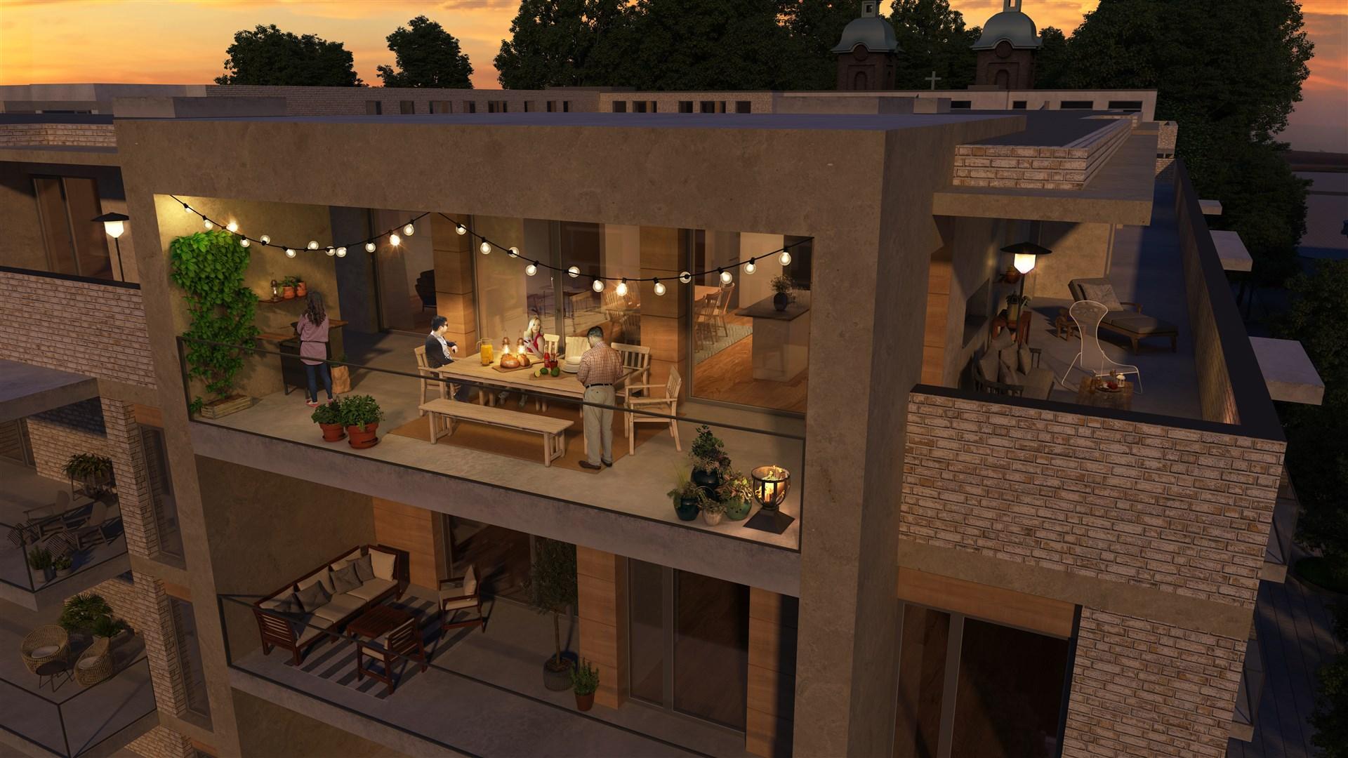 Illustration takterrass på penthouse - från sydväst