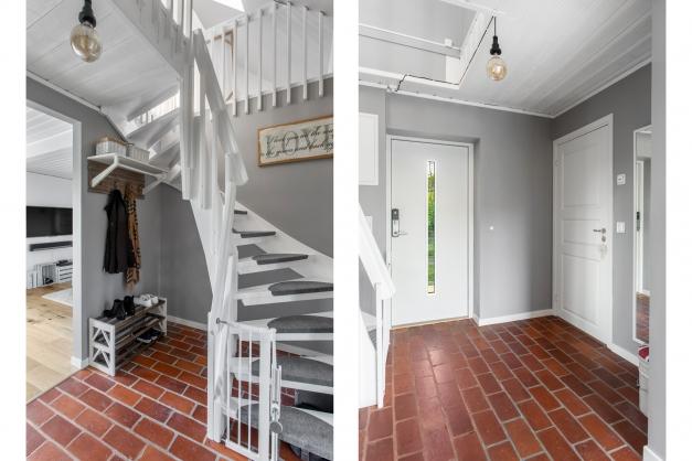 Entré med vackert tegelgolv och trappa till ovanvåningen.