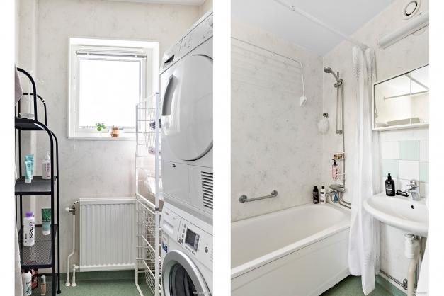 Från köket når du det stora badrummet med badkar och tvätthörna