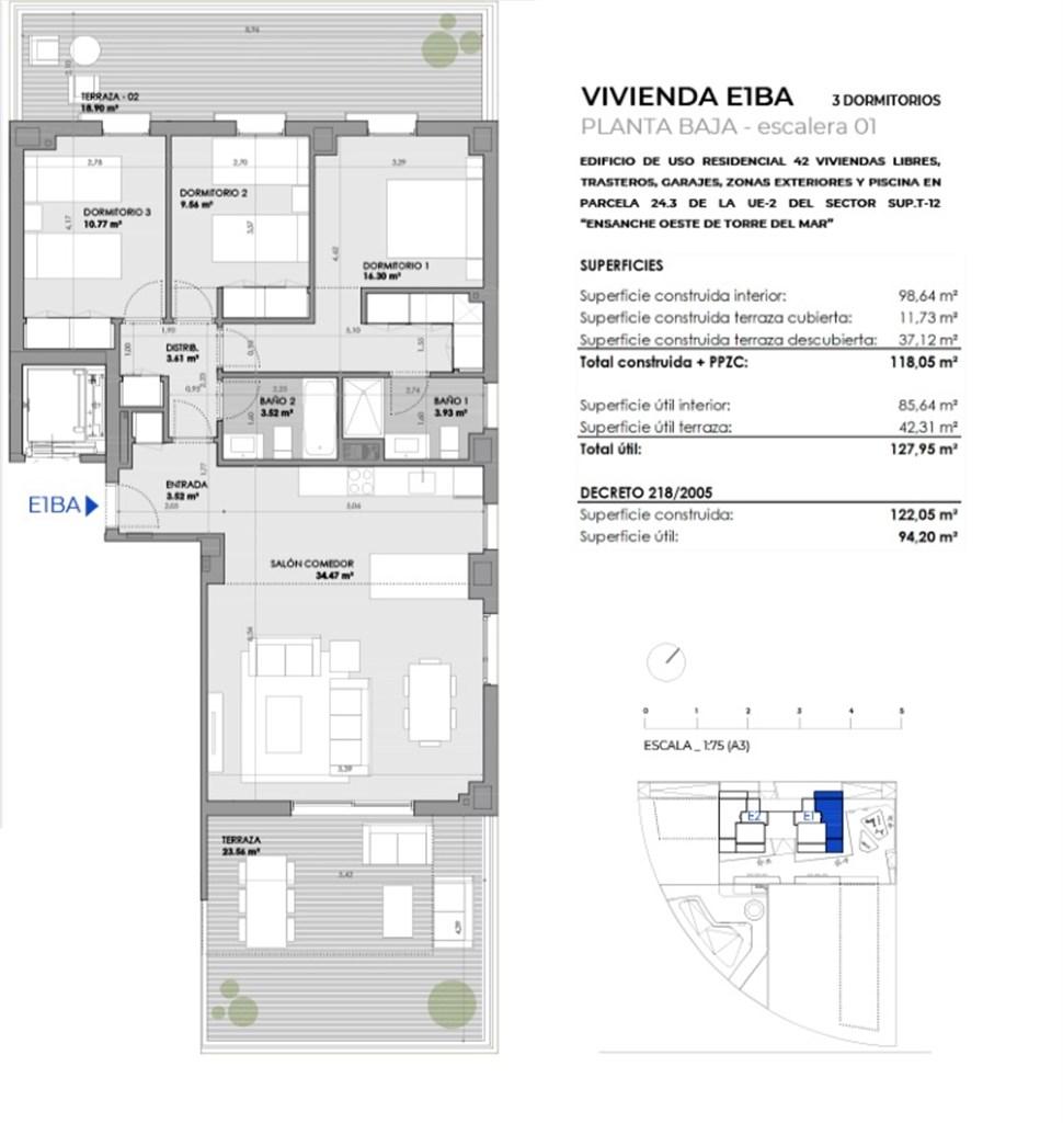 Exempel, planritning. 3 sovrum 270.900 €