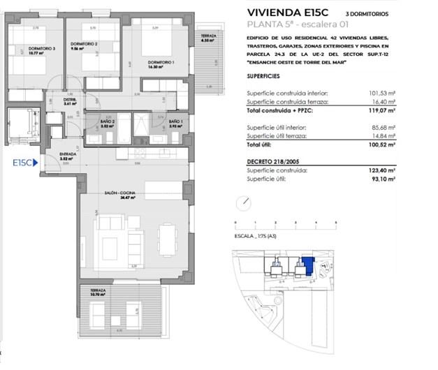 Exempel, planritning. 3 sovrum 270.650 €