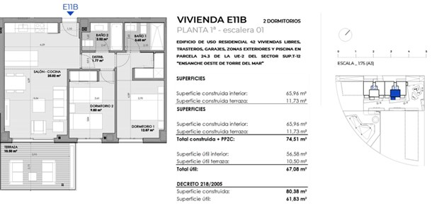 Exempel, planritning. 2 sovrum 181.600 €