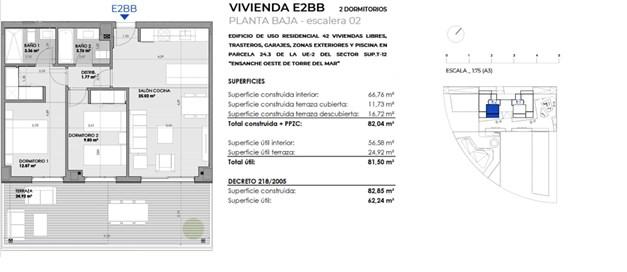 Exempel, planritning. 2 sovrum 207.600 €