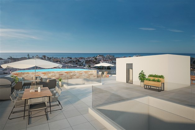Communal terrace with pool and sea view
