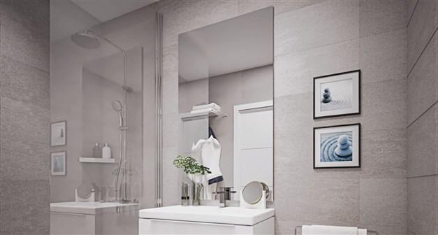 llustrationsbild - helkaklade badrum med dusch
