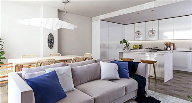llustrationsbild - vardagsrum och kök i öppen planlösning
